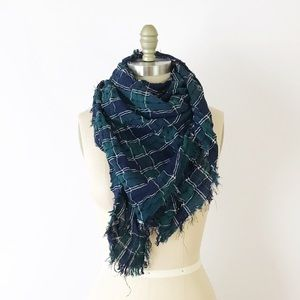 Blue & Green Plaid Square Large Scarf Crinkle Soft